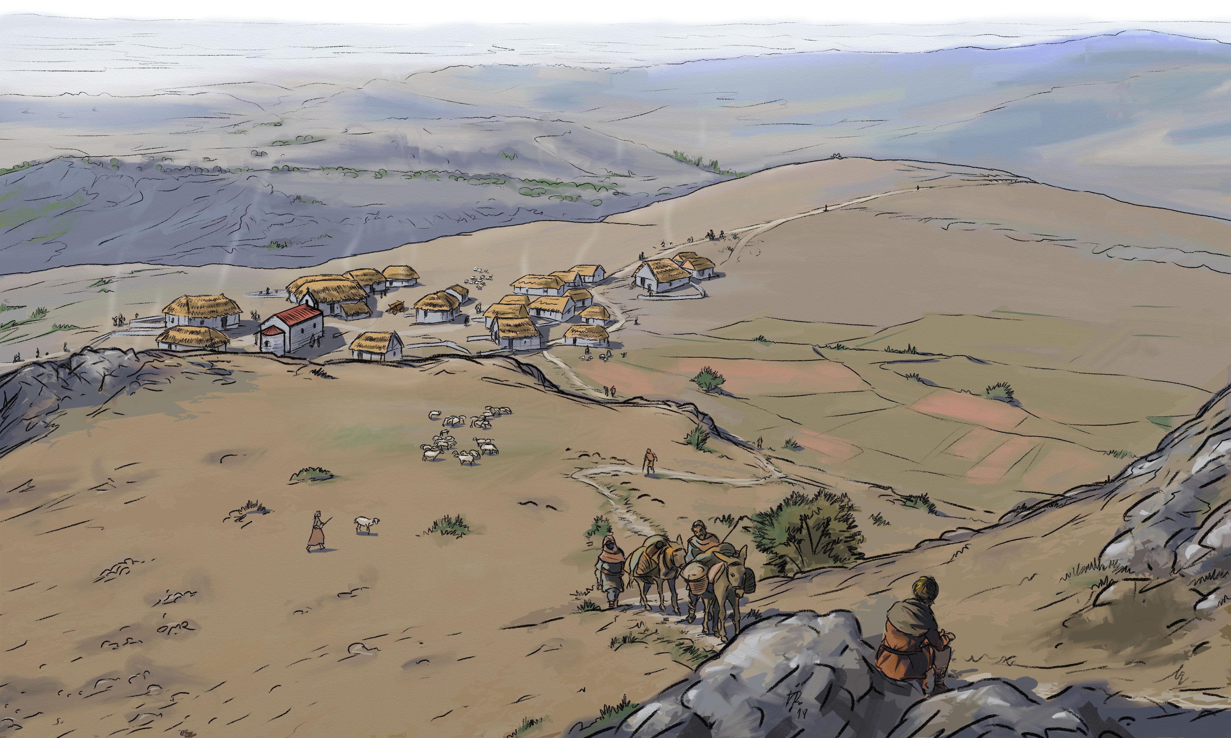 DIBUJO vista pueblo medieval de Amaya